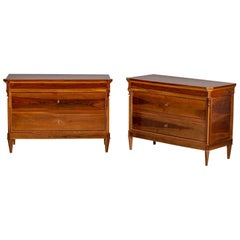 Pair of Antique Italian Neoclassical Walnut Chests, circa 1830
