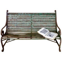1920s French Forged Iron Garden Parc Bench