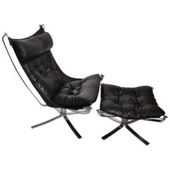 Mid-Century Modern Falcon Chair & Ottoman in Chrome Frame by Sigurd Ressell