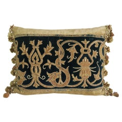 19th Century Italian Metallic Appliqued Velvet Pillows, Pair