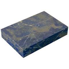 Vintage Italian Midcentury Lapis Lazuli and Silver Box