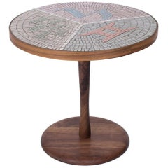 Walnut and Mosaic Side Table