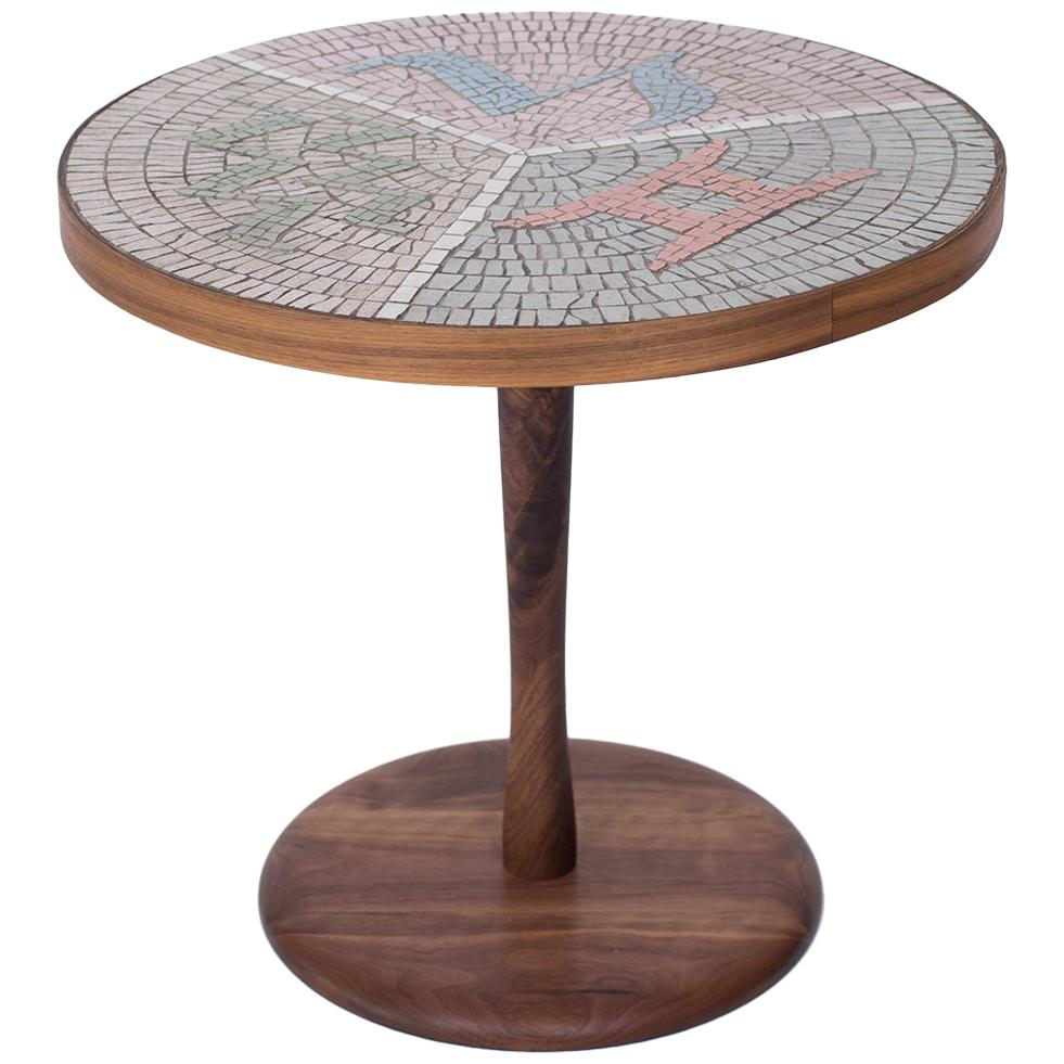 Etonnant Walnut And Mosaic Side Table For Sale