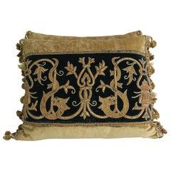 19th Century Italian Metallic Appliqued Velvet Pillows, Pair