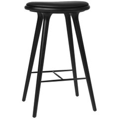 Bar Height High Stool, Black Stained Beech Wood Leather Seat by Mater Dessign