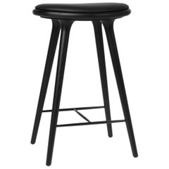 Counter Height High Stool Black Stained Beech Wood Leather Seat by Mater Design