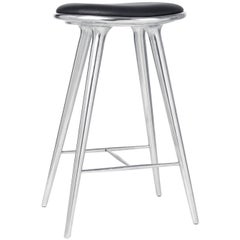 Bar Height High Stool Recycled Aluminum Black Leather Seat by Mater Design