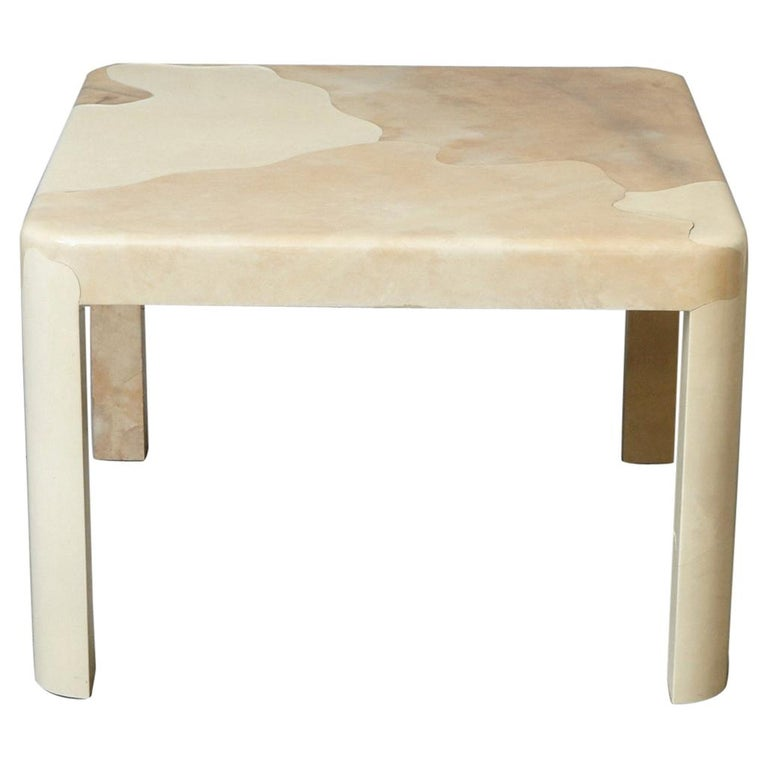Goatskin Covered Square Dining Table by Karl Springer For Sale