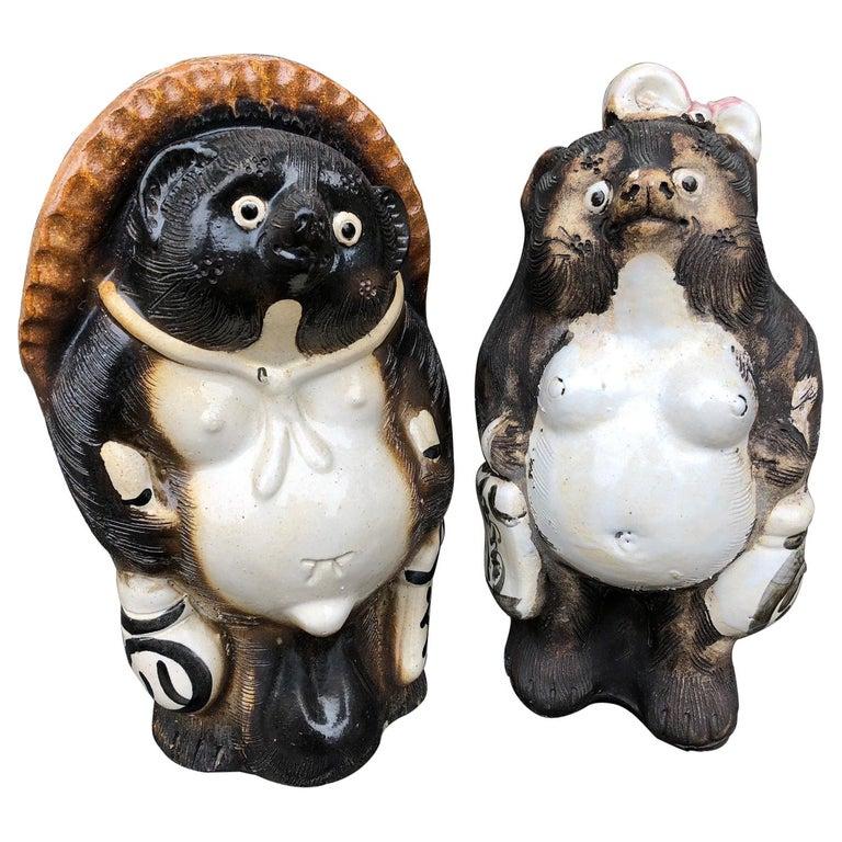 Japanese Him & Her Folk Hero Tanukis Handmade Glazed Big Belly Sculptures, Pair