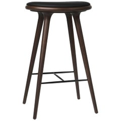 Bar Height High Stool Dark Stained Beech Black Leather Seat by Mater Design