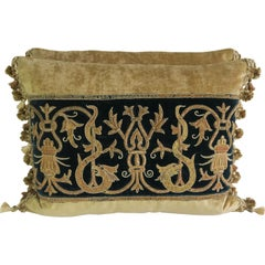 Gold Metallic Embroidered Linen Velvet Pillows, Pair