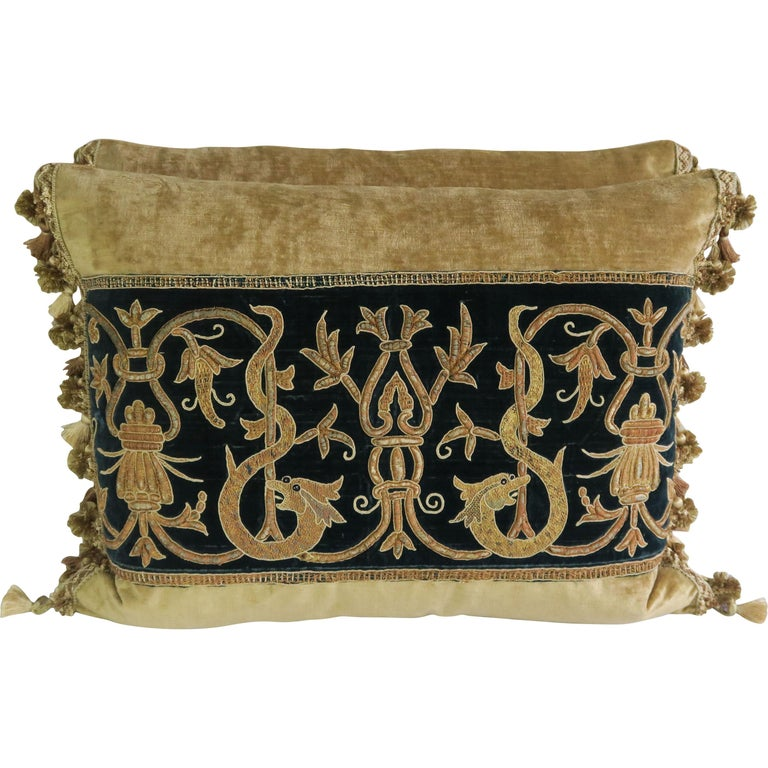 Gold Metallic Embroidered Linen Velvet Pillows, Pair