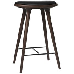 Counter Height High Stool Dark Stained Beech Wood Leather Seat by Mater Design