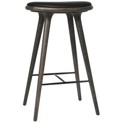 Bar Height High Stool Sirka Grey Stained Oakwood Leather Seat by Mater Design