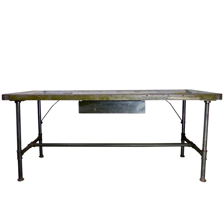 1940s Industrial Metal Table or Desk with Single Drawer