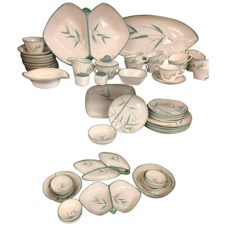 Collection of Winfield California Green Bamboo Dinnerware For Sale