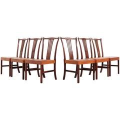 Dining Chairs 10 by Helge Vestergaard Jensen by Peder Pedersen, Denmark, 1940s