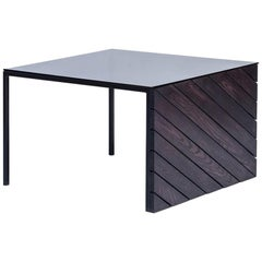 Black Painted Ash Coffee Table with Steel Frame and Glass Top