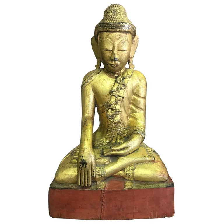 Large Carved Wood, Lacquered and Gilt Seated Temple Buddha