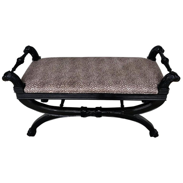 Black Lacquer Curule Bench in the Style of Maison Jansen