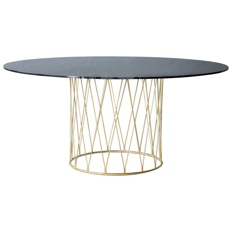 Equipal Brass and Glass Table by ATRA For Sale