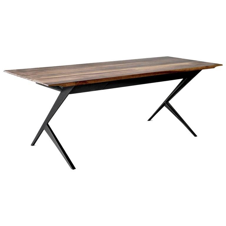 Mantis Walnut, Mahogany and Painted Steel Desk