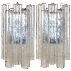"Pair of Large Italian Murano Glass ""Tronchi"" Wall Sconces by Venini"