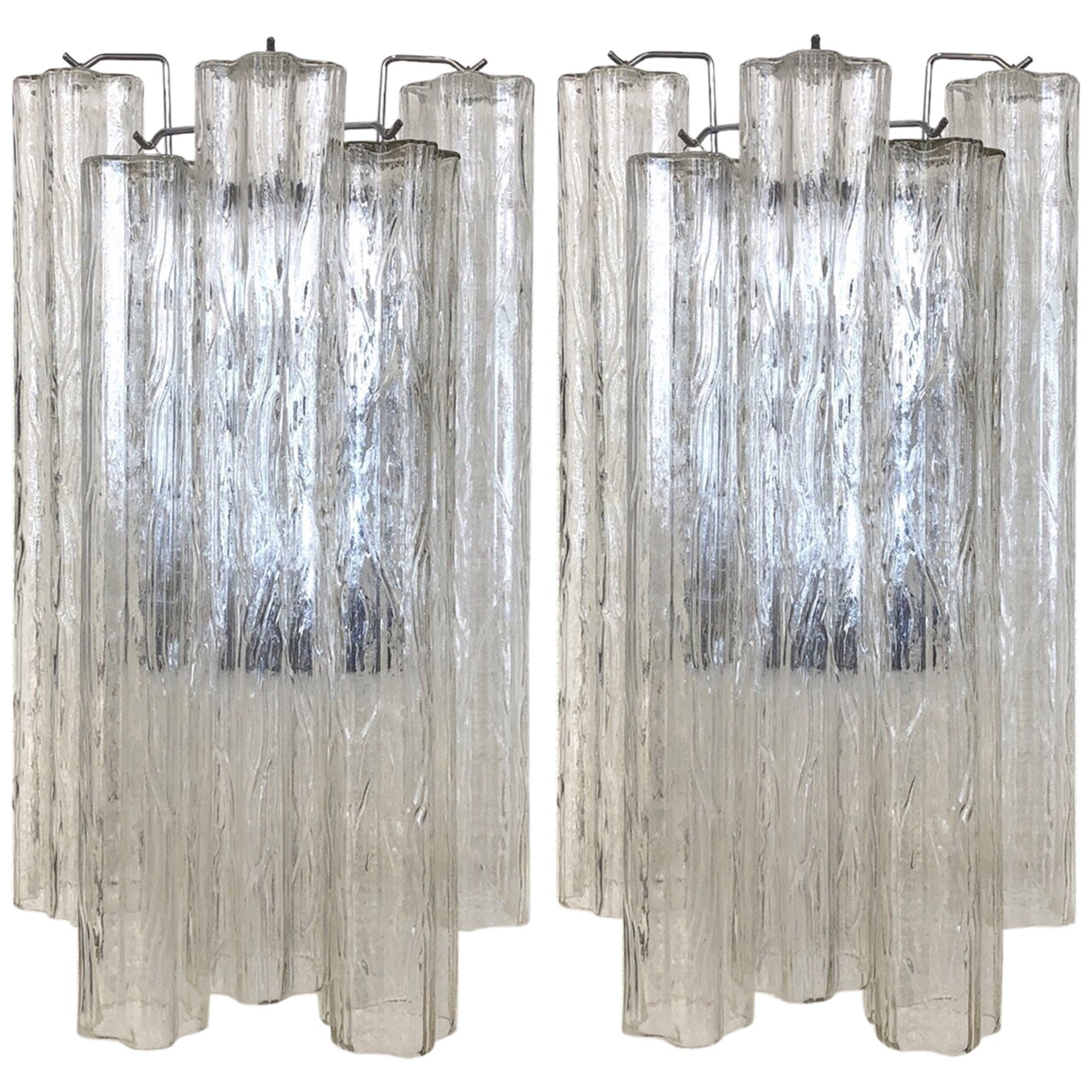 """Pair of Large Italian Murano Glass """"Tronchi"""" Wall Sconces by Venini"""