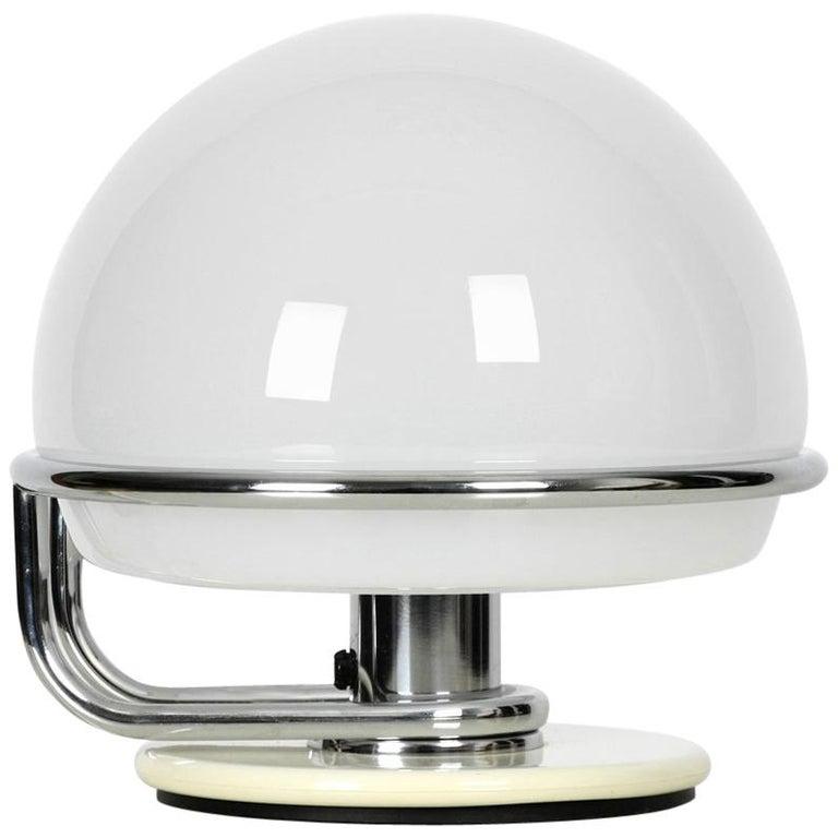 1960s Italian Guzzini Metal Table Lamp and Glass Shade Space Age Design