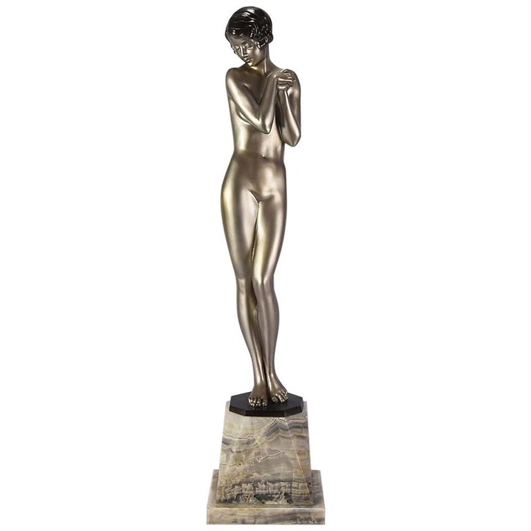 "Cold Painted Art Deco Bronze ""Coy Lady"" by Lorenzl"