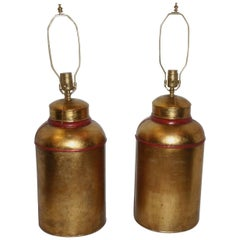 Pair of Large Gilt Tole Lamps