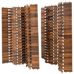 Poggi, Pair of Screens in Wood, Italy, circa 1960