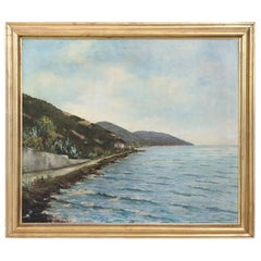 20th Century Oil Painting on Canvas Signed Landscape of the Italian Coast
