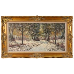 20th Century Oil on Canvas Dutch Snowy Landscape Impressionist Style Painting
