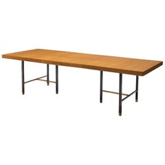 Harvey Probber Brass and Mahogany Extendable Dining Table