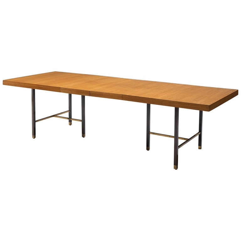Harvey Probber Brass and Mahogany Extendable Dining Table For Sale
