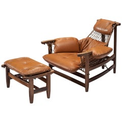 Jean Gillon Jangada Lounge Chair with Ottoman in Cognac Leather