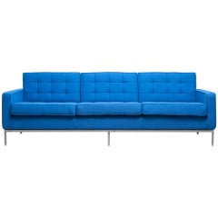 Clear Blue 3 Seat Sofa by Florence Knoll, 1954
