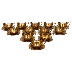 Secessionist Argentor Teacup Holders and Saucers Hans Ofner