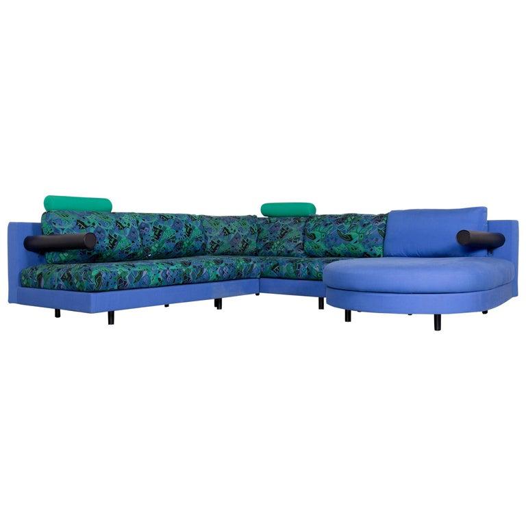 B & B Italia Sity Fabric Designer Sofa Blue Pattern Look Corner Couch
