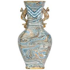 Doulton Lambeth Maqueterie Dragon Handled Vase, 19th Century