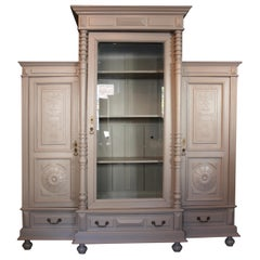 Large Antique Cabinet with Glass Door, circa 1900, Hand-Painted Taupe