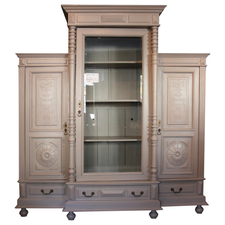 Large Antique Cabinet with Glass Door, circa 1900, Hand-Painted Taupe - Antique Stickley Style Cabinet With Stained Glass Door At 1stdibs