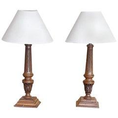 Pair of Edwardian Faded Mahogany Table Lamps