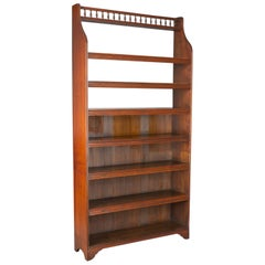 Antique Open Bookcase, Tall, English, Walnut, Book Shelves, Edwardian