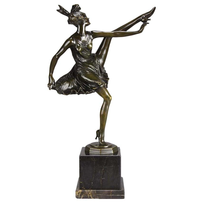 "Art Deco Bronze Figurine Entitled ""High Kick"" by Bruno Zach"