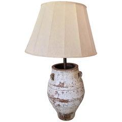 19th Century, Large Terracotta Urn or Jar Oil Lamp