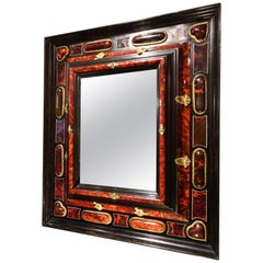 17th Century Flemish Mirror Richly Decorated in Tortoise Shell, Antwerpen