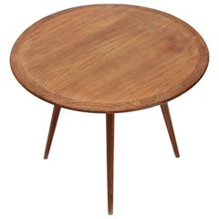 Wooden Coffee Table with Round Top, 1950s