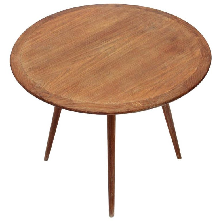 Wooden Coffee Table with Round Top, 1950s For Sale